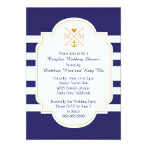 Nautical Monogram Couples Wedding Bridal Shower Invitation
