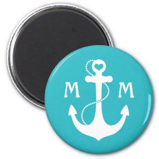 Nautical Monogram 2 Inch Round Magnet