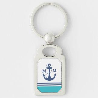 Nautical Monogram Silver-Colored Rectangular Metal Keychain