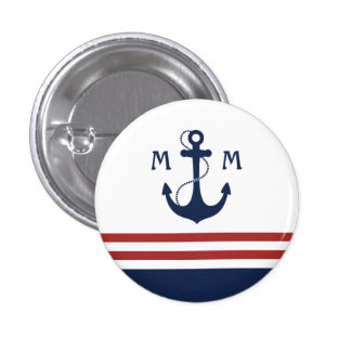 Nautical Monogram Pinback Button