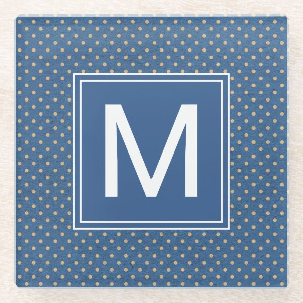 Nautical Monogram Polka Dots Glass Coaster