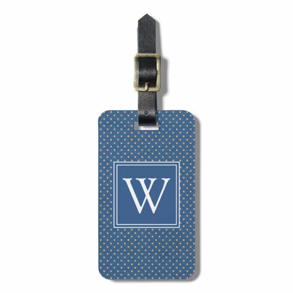 Nautical Monogram Polka Dots Luggage Tag