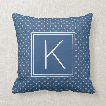 Beach Themed Nautical Monogram Polka Dots Throw Pillow