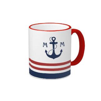 Nautical Monogram Ringer Coffee Mug