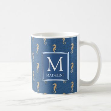 Beach Themed Nautical Monogram Seahorse Coffee Mug