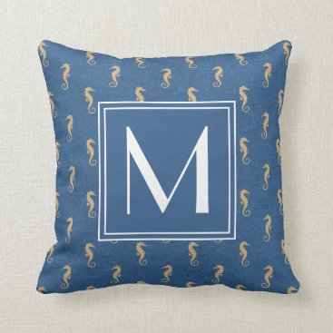 Beach Themed Nautical Monogram Seahorse Throw Pillow
