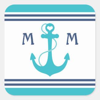Nautical Monogram Square Stickers
