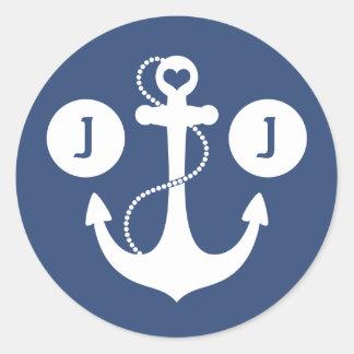 Nautical Monogram Classic Round Sticker