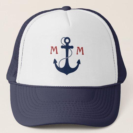 4b614cabd22c5 Nautical Monogram Trucker Hat