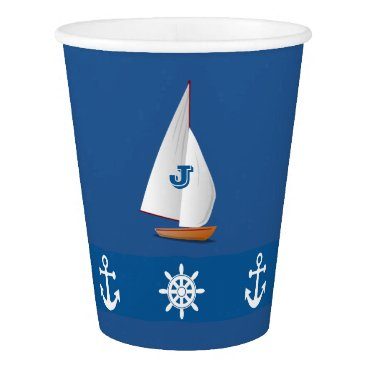 Beach Themed Nautical Monogramed design in Blue|White stripe Paper Cup
