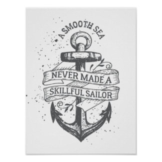 Nautical motivational sailor quote poster