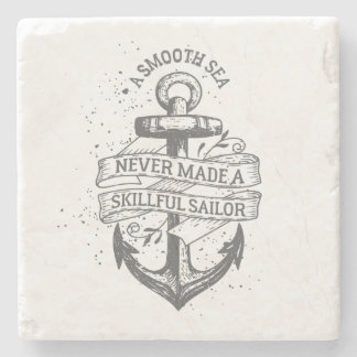 Nautical motivational sailor quote stone coaster