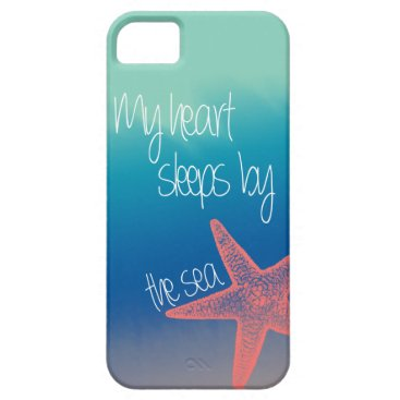 """Valentines Themed Nautical """"My heart sleeps by the sea"""" starfish iPhone SE/5/5s Case"""