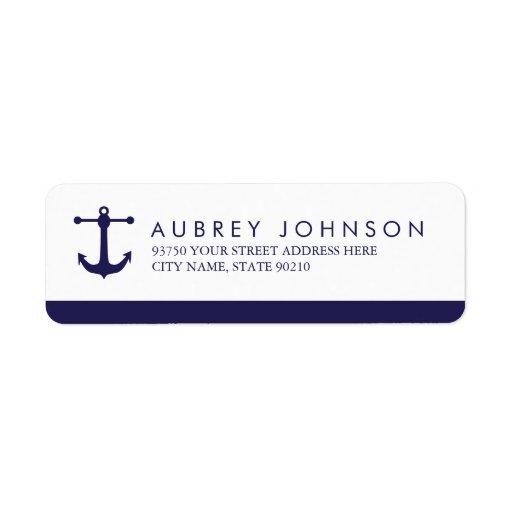 Nautical Navy Address Labels Custom Return Address Label