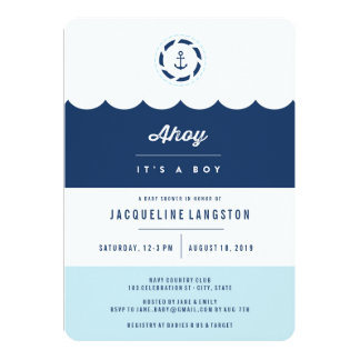 Nautical Navy Ahoy It's A Boy Baby Shower Invite