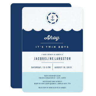 Nautical Navy Ahoy Twin Boys Baby Shower Invite