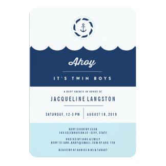 Nautical Navy Ahoy Twin Boys Baby Shower Invite