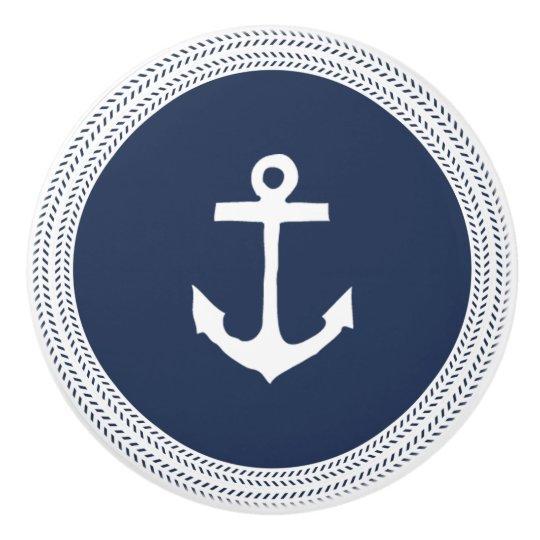 Nautical Navy Anchor And Rope Braid Ceramic Knob Zazzle