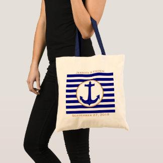 Nautical Navy Anchor and Stripes Wedding Gift Bag