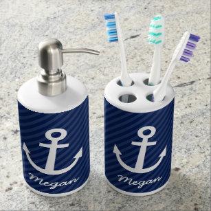 Nautical Navy Anchor Bathroom Set