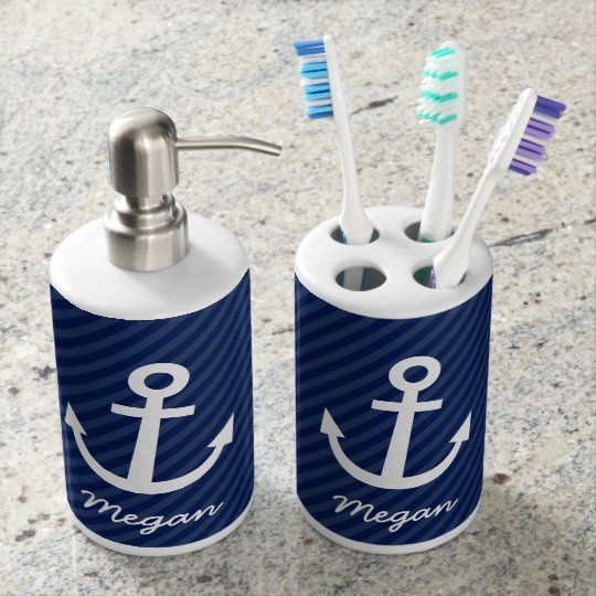 Nautical Navy Anchor Bathroom Set