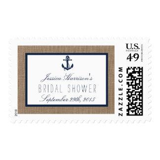 Nautical Navy Anchor Beach Bridal Shower Postage