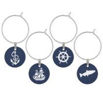 Nautical Navy Anchor, Boat, Ships Wheel and Fish Wine Glass Charm