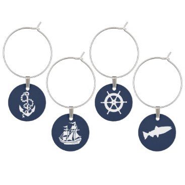 Beach Themed Nautical Navy Anchor, Boat, Ships Wheel and Fish Wine Glass Charm