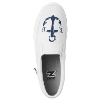 Nautical Navy Anchor Initial Monogram Slip-On Sneakers