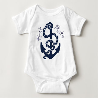 Nautical Navy Anchor Pattern Baby Bodysuit