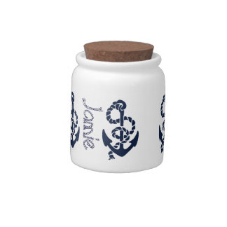 Nautical Navy Anchor Pattern Candy Jars