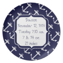 Nautical Navy Anchor Pattern Dinner Plate