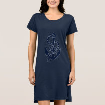 Nautical Navy Anchor Pattern Dress