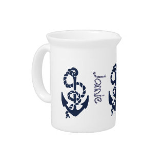 Nautical Navy Anchor Pattern Drink Pitchers