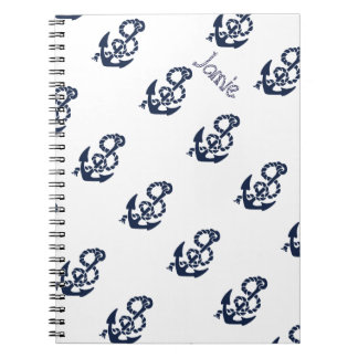 Nautical Navy Anchor Pattern Notebooks