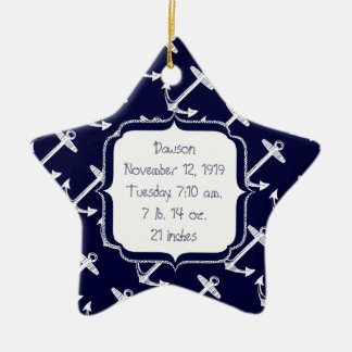 Nautical Navy Anchor Pattern Double-Sided Star Ceramic Christmas Ornament
