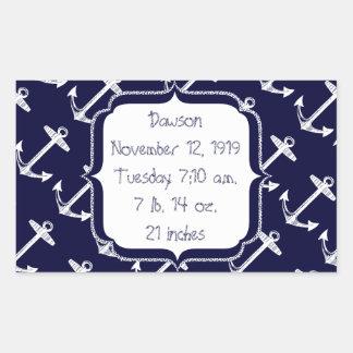 Nautical Navy Anchor Pattern Rectangular Sticker