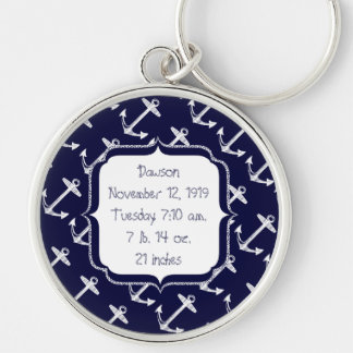 Nautical Navy Anchor Pattern Silver-Colored Round Keychain