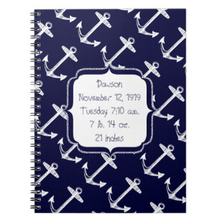 Nautical Navy Anchor Pattern Spiral Notebook