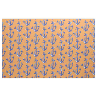 Nautical Navy Anchor pattern with orange Fabric