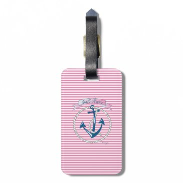 Nautical Navy Anchor, Pink, Blue Stripes Bag Tag