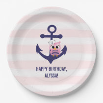 Nautical Navy Anchor Pink Owl and Stripes Birthday Paper Plate