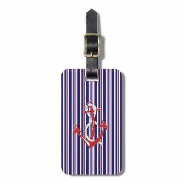 Nautical Navy Anchor,Red, Blue Stripes Bag Tag