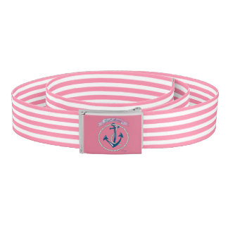 Nautical Navy Anchor, Rope, Blue Pink Stripes Belt