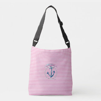 Nautical Navy Anchor, Rope, Pink Stripes Crossbody Bag