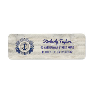 Nautical Navy Anchor Rustic Driftwood Beach Label