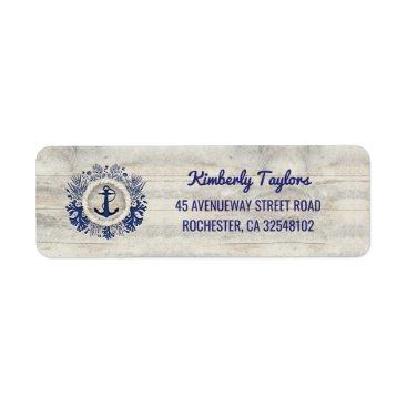 jinaiji Nautical Navy Anchor Rustic Driftwood Beach Label