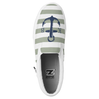 Nautical Navy Anchor & Stripe Initial Monogram Printed Shoes