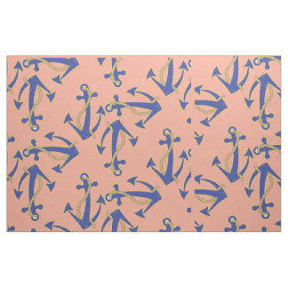 Nautical Navy Anchor with gold rope pattern Fabric