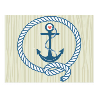 Nautical Navy Anchor with Rope and a Heart Postcard